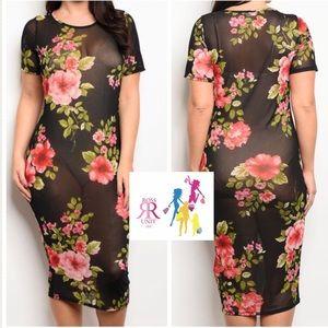 🅿️ Black Floral Mesh Dress